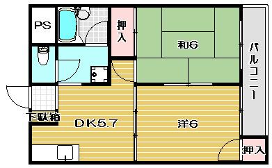 カセイハイツ 302号室 間取り