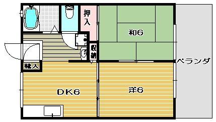 松村ハイツD棟 207号室 間取り