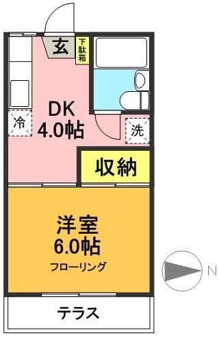 カサボニータ 102号室 間取り