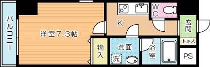 U-Basic reef 三萩野(ユー・ベーシックリーフ三萩野) 604号室 間取り