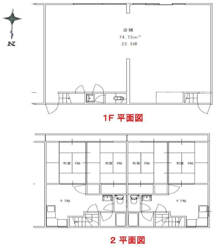 豊田市前田町貸店舗 東側号室 間取り