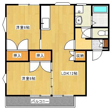 上津コーポB棟 201号室 間取り