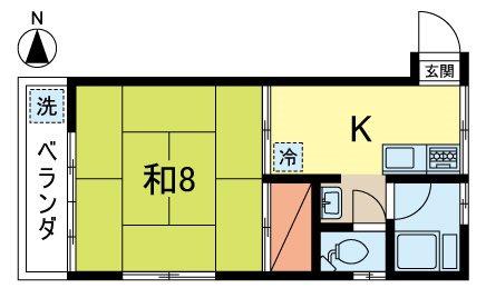 コーポ横山  105号室 間取り