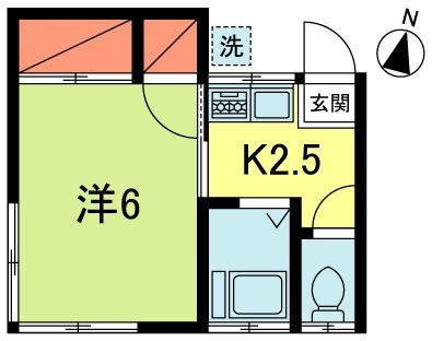 矢竹ハイツ 202号室 間取り