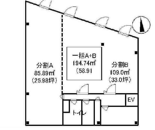 貸店舗・事務所 八尾市 東本町3丁目 たばこビル 間取り図