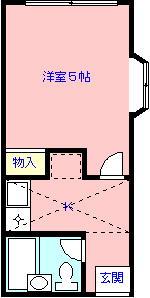 メゾン花咲 101号室 間取り