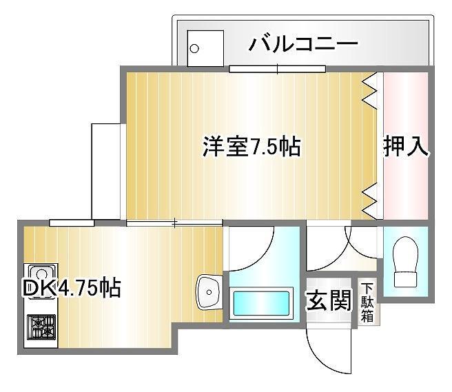 シャイングレード岩田 202号室 間取り