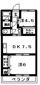 山中ビル D号室 間取り