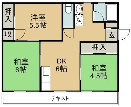 平野マンション 405号室 間取り