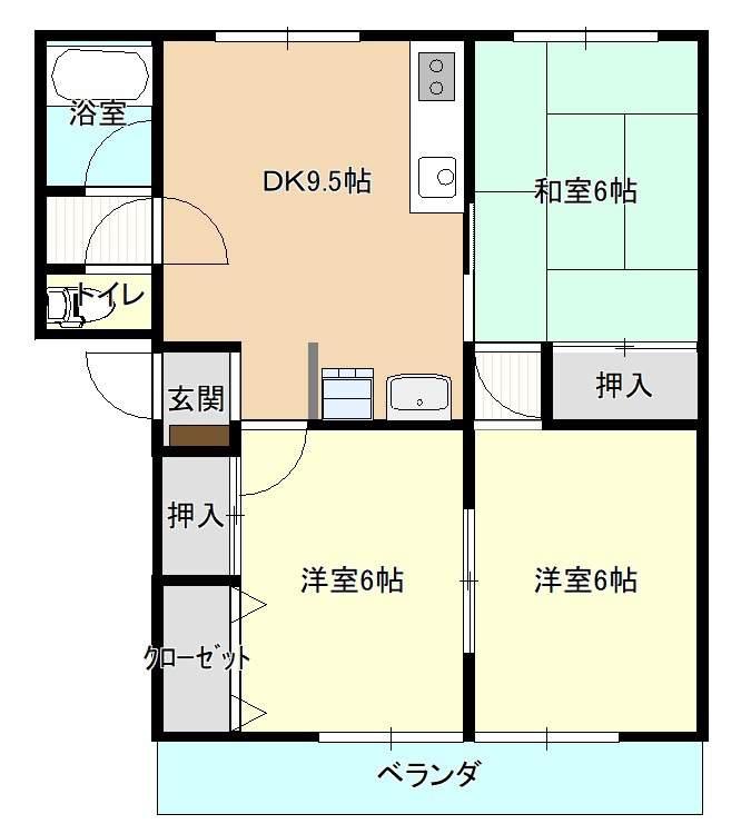 鴨島マンション 12号室 間取り