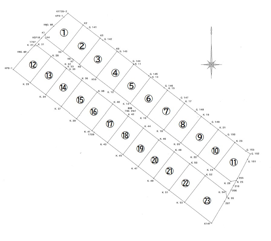 川棚字三の浜 残22区画 間取り図