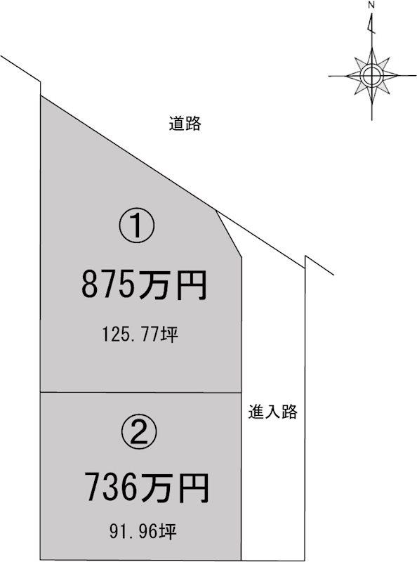 新居浜市船木2区画分譲地➀ 間取り図
