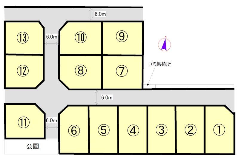 明和町佐田新規分譲団地(全13区画) 間取図・土地図