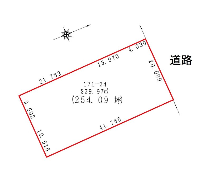 網走市字呼人171番34 土地 間取図・土地図