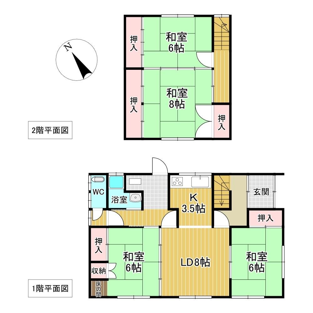 美幌町字青山北7番 戸建て 間取図・土地図