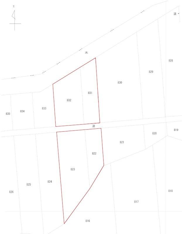 豊地822番 山林 間取図・土地図