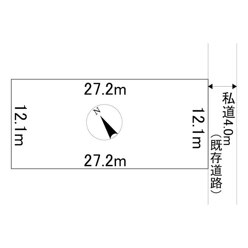 端野町三区393番 土地 間取図・土地図