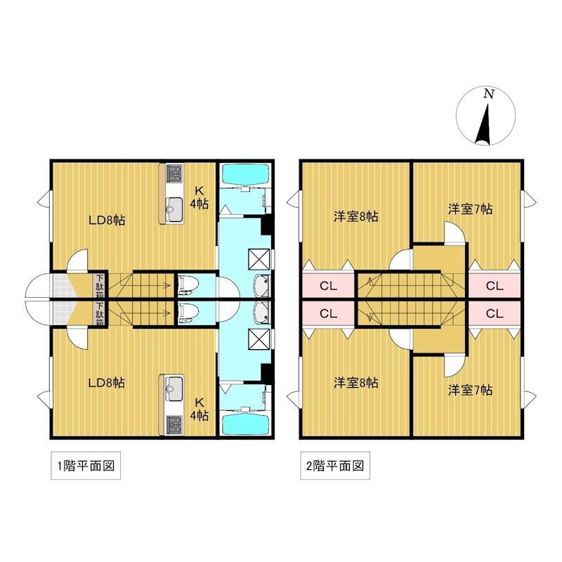 西三輪3丁目752番 共同住宅 間取図・土地図