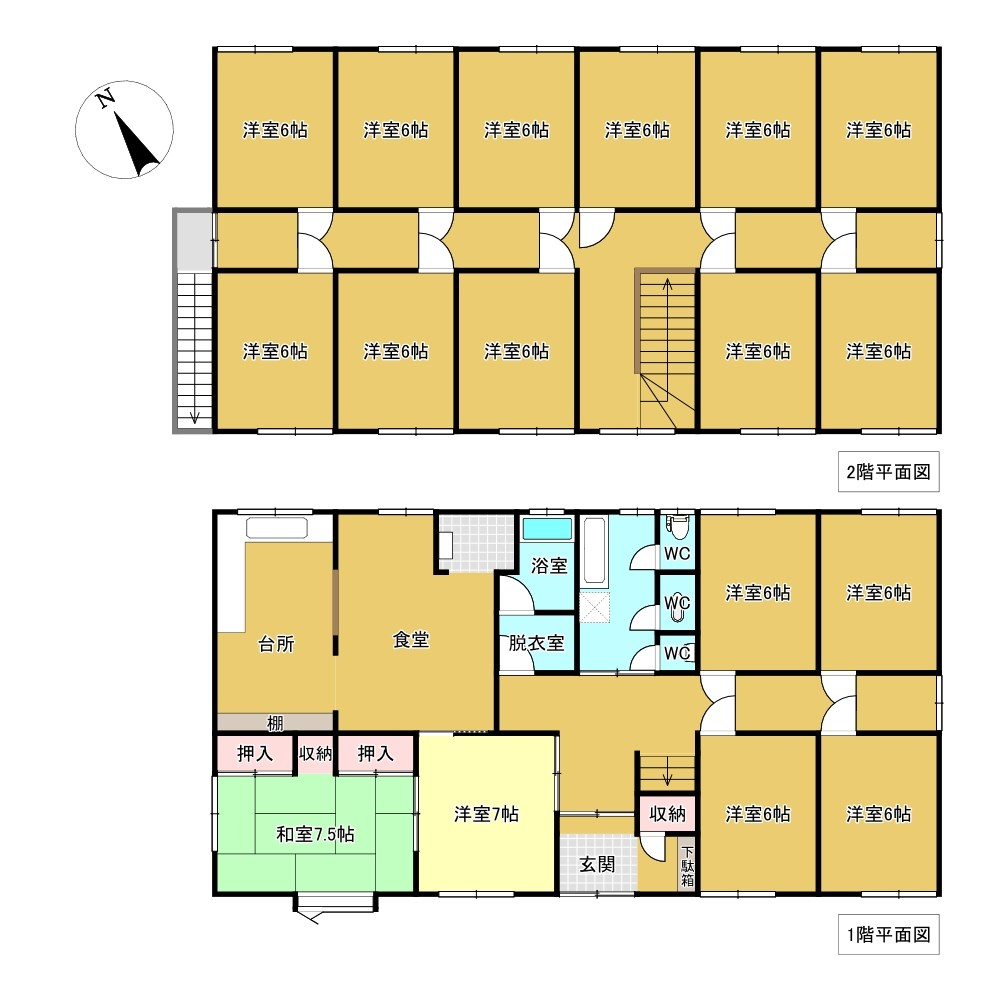 東陵町96番 下宿 間取図・土地図
