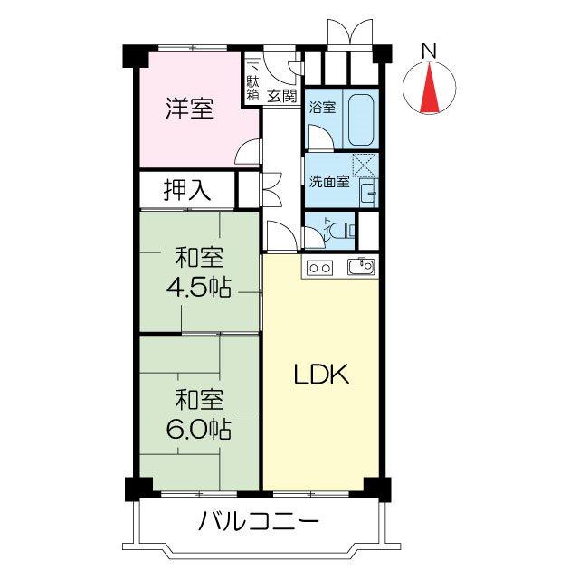 日商岩井第5緑地公園マンション 304号室 間取り図