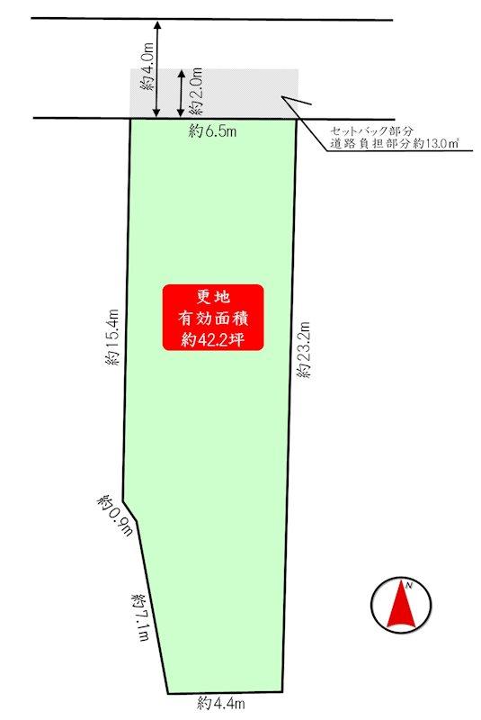 長岡京市奥海印寺谷田 建築条件なし売土地 間取り図