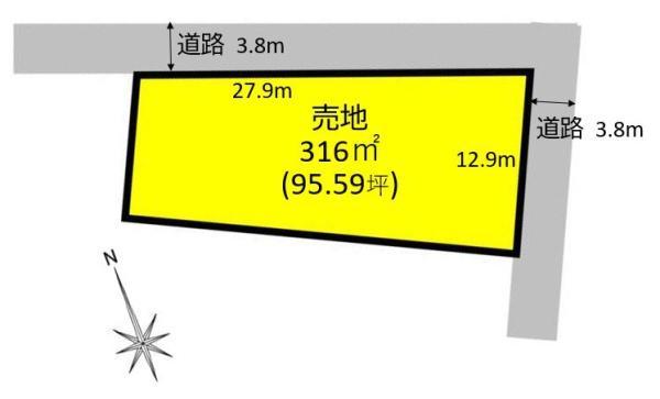 小牧市大字上末字東山 売地 間取図・土地図
