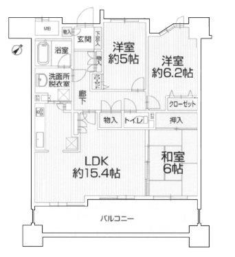 志賀本通シティハウス302 302号室 間取り図