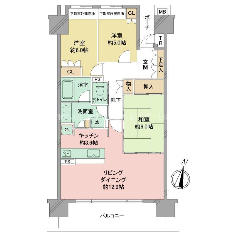 ブライトタウン菊川 903号室 間取り図