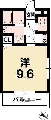 彦根市新町 ワンルームシャンティ 間取り図
