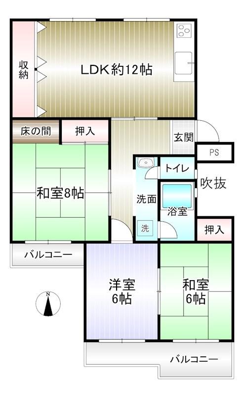 泉北赤坂台A住宅 7号棟 間取り図