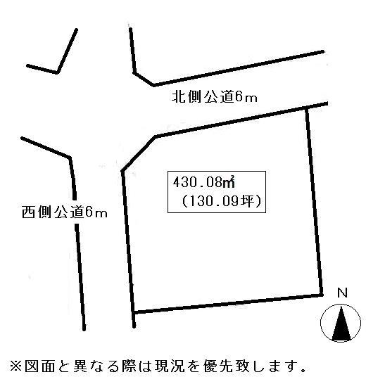 高松市香川町浅野売り土地 間取り図