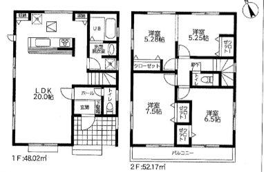 平塚市徳延 19-2期 新築戸建 2号棟 間取り図