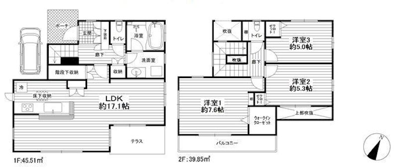 平塚市菫平 リノベーション住宅 間取り図