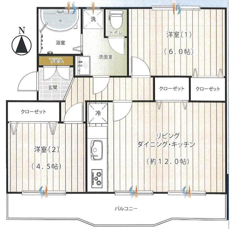 平塚高村団地29号棟最上階5階 中古マンション 間取り図