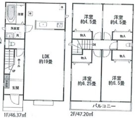 平塚市徳延396番  新築戸建 3号棟 間取り図