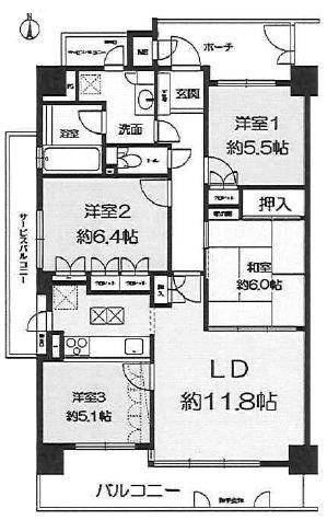 エスリード茨木川端通り オーナーチェンジ物件 間取り図